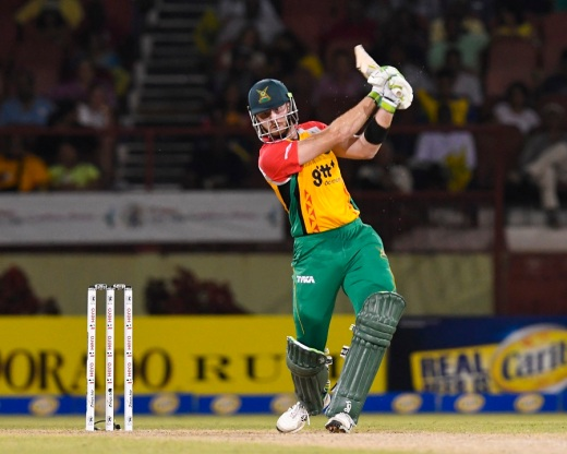 PROVIDENCE, GUYANA - AUGUST 17: In this handout image provided by CPL T20, Martin Guptill of Guyana Amazon Warriors hits 4 during Match 15 of the 2017 Hero Caribbean Premier League between Guyana Amazon Warriors and Jamaica Tallawahs at Guyana National Stadium on August 17, 2017 in Providence, Guyana. (Photo by Randy Brooks - CPL T20 via Getty Images)