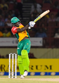 PROVIDENCE, GUYANA - AUGUST 17: In this handout image provided by CPL T20, Chadwick Walton of Guyana Amazon Warriors hits 4 during Match 15 of the 2017 Hero Caribbean Premier League between Guyana Amazon Warriors and Jamaica Tallawahs at Guyana National Stadium on August 17, 2017 in Providence, Guyana. (Photo by Randy Brooks - CPL T20 via Getty Images)